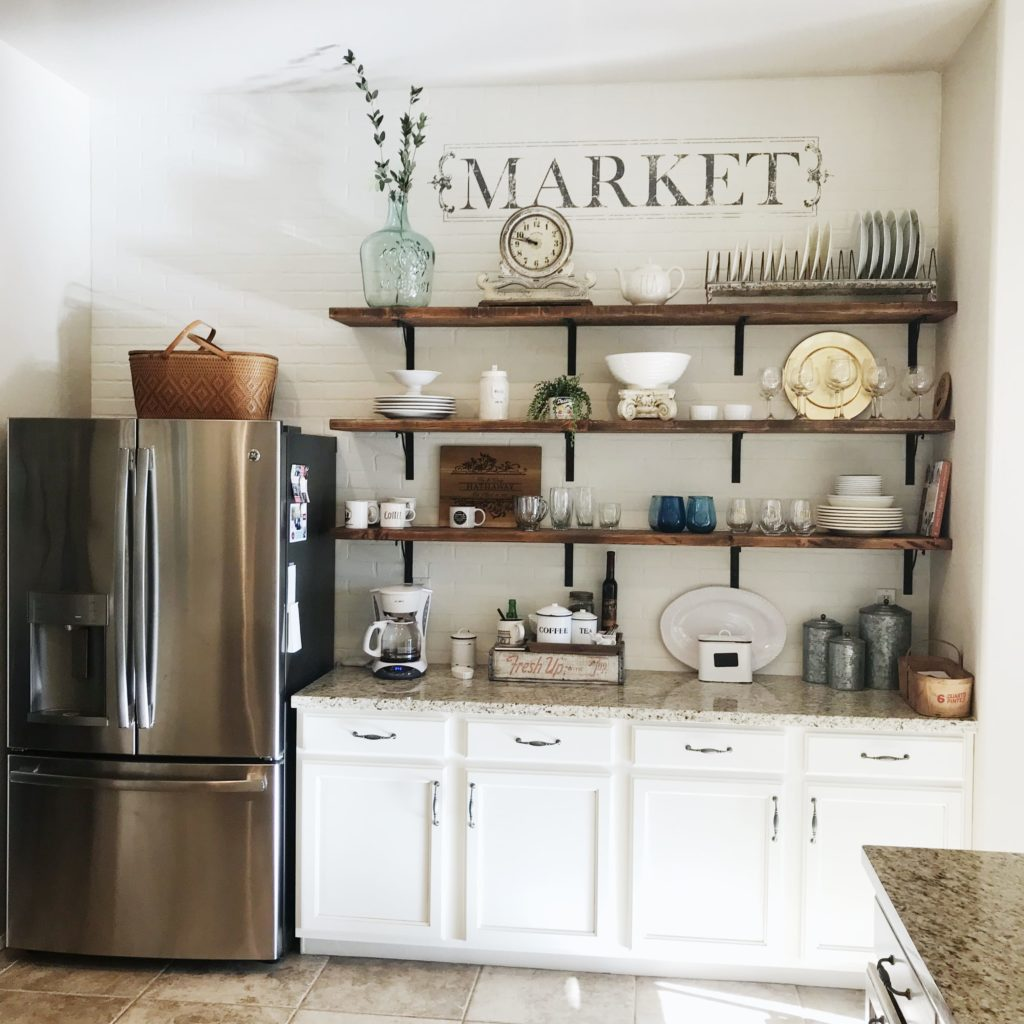 I couldn't love this wall more! It's even better than I ever imagined! I love the faux brick and the open shelves! It's french country farmhouse at it's finest, IMHO! :)