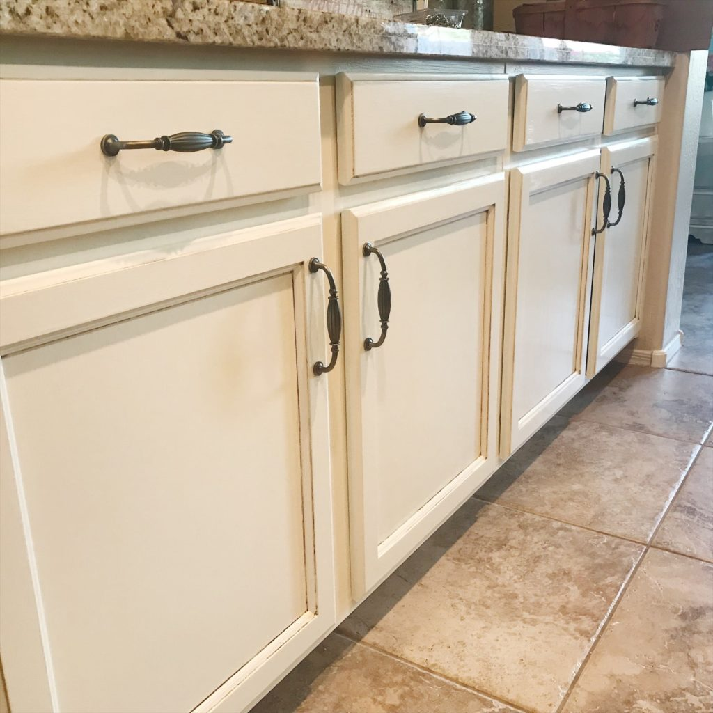 The first section of the kitchen cabinets is complete! They turned out so beautiful and the hardware is the perfect icing for this fabulous cake!