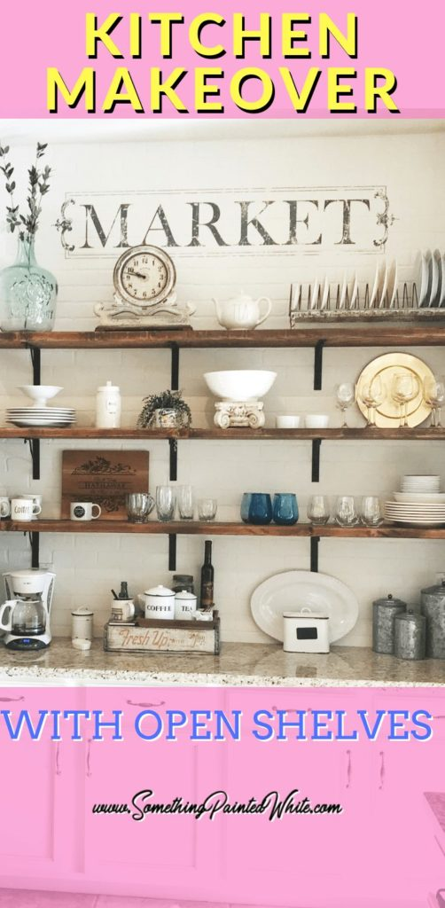 Transform your boring builder grade cabinets into a fabulous french country farmhouse wall of brick with open shelving.